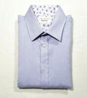 Ted Baker Endurance Men Size 16.5 34/35 Dress Shirt Lavender Blue White Striped