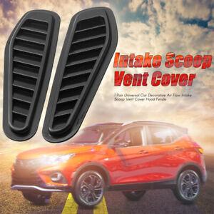 2Pcs Black Car Air Flow Intake Scoop Bonnet Vent Cover Hood Fender Decorative