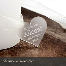 Personalised 4cm Clear Frosted Acrylic Heart Wedding Favours or for Decorations.