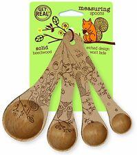 Talisman Beech Wood Measuring Spoon Set of 4 Woodland Design Cute Bake Cook Gift