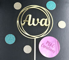 Personalised NAME Circle Birthday Cake Topper ANY NAME- Acrylic, Mirror Wooden
