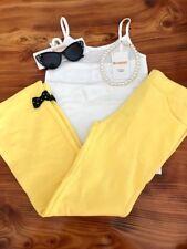 Gymboree Girls White Tank Yellow Pants Bow Sunglasses Pearls 5/6 NWT GYM9