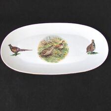"Porcelain Oblong Serving Tray Dish- Gold Trim ~ Naaman Israel 10"" long"