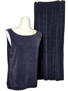 French Laundry Women's Medium Maxi Skirt and Tank Set Purple Gray Stretch Lounge