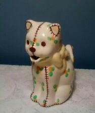 Vintage Porcelain Ceramic Cat Creamer Brown stitching, green yellow orange dots