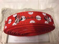1 METRI Minnie Mouse Rosso GROS Grain Nastro di marca 22 mm torte Bow
