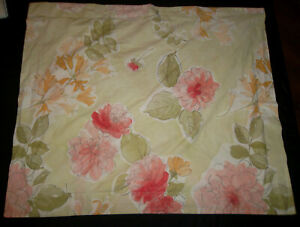 Pottery Barn STD Pair OR Euro Sham Green Water Color Floral Pink Orange Flower