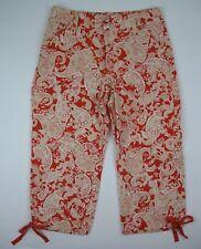 COLDWATER CREEK Capri Cropped Pants Petite 6 Paisley Orange White Tan