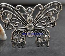 3pcs Tibetan Silver Charm Rhinestone Butterfly Pendant 49mm G3402