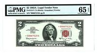 1963 A $2 TWO DOLLAR BILL RED SEAL STAR NOTE LEGAL TENDER PMG 65 EPQ *00667519A