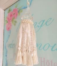 Shabby French Provincial Cabinet Cream Beaded Glass Decor Tassel Hamptons Chic