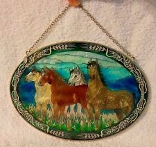 """Amia Stained Glass Suncatcher of Four Horses in a Meadow 9""""x 6.5"""" Oval Pre-owned"""