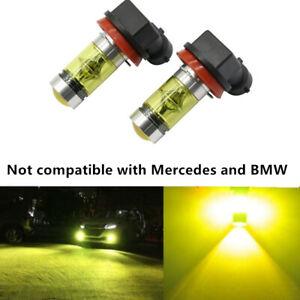 2x 100W H11 H8 H9 3000K Yellow High Power LED Fog Lights Driving Bulb DRL