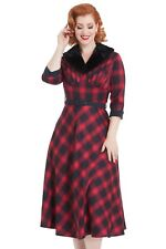 "Vintage Vixen ""Bettie"" Red Check Tartan WW2 1940s Retro Semi Swing Dress"