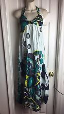 NEW $178 French Connection Sundress Boho Size 10 Halter Cotton Maxi Vacation