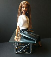 OOAK Barbie Doll Size furniture contemporary End table with glass mirrored top!