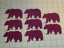 Set of Eight Buffalo Check Plaid Black & Red Bear Iron on Appliques Lodge Theme