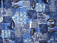 New Marcus Brothers Blue Maouri Patch Native Print Wide Cotton Fabric