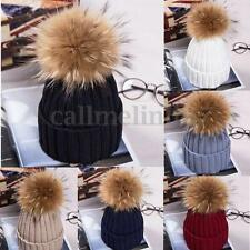 Large 15cm Ball Women Hat Winter Artificial Fur Pom Knit Beanie Ski Bobble Cap