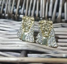 Mens Women Gold Plated  ICE OUT Cz Micropave Earring Stud Round Hip Hop jesus