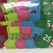 New Advent Calendar Stocking Garland In Bright Colors Felt Christmas Countdown
