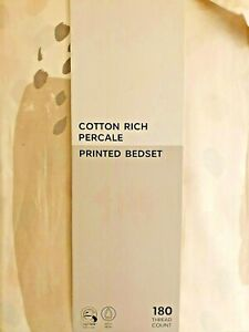 Marks & Spencer Cotton Rich Percale Double Bedset and Pillowcases Neutral Olivia
