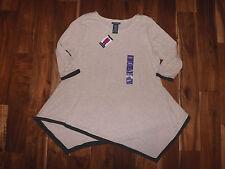 NWT Womens Chelsea & Theodore 3/4 Sleeve Oatmeal Asymmetrical Sweater Shirt XXL