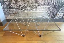 VINTAGE TABLE BASSE pyramide FIL ACIER-VERRE-DESIGN 80-DLG Paolo PIVA-80X80cm