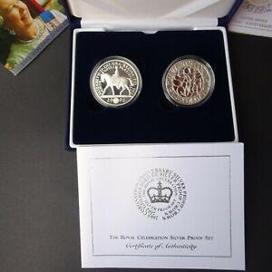 UK Elizabeth II 2002 The Royal Celebration Silver Proof £5 Coins Set with COA