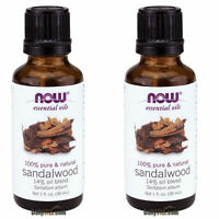 2 x NOW 100% Pure & Natural Sandalwood Essential Oil 1 oz (30mL), MADE IN USA
