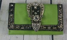 Women Tri-fold Faux Leather Wallet Card Checkbook w/ Rhinestone Buckle Green