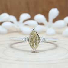 Light Yellow Marquise Diamond Ring 14K Solid Gold Ring Engagement Ring KD845