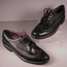 Vintage Men's Dress Shoes British Walkers Black Leather Wingtips 10 D old stock