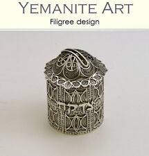 925 Sterling Silver Tzedakah Box Filigree Artisan, Yemenite Art, Made in Israel