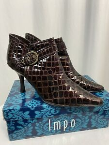 IMPO Tammy Squire Coco Print Patent Brown Bootie Heel, Women's 10M, NIB