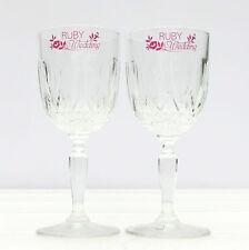 Vintage Ruby Wedding Anniversary Pair Lead Crystal Glasses