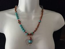 Ain't love Grand, 3 piece turquoise copper, necklace, bracelet and earrings set