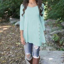Womens Loose Long Sleeve Blouse Shirts Button Trim Round Neck Tunic T-shirt Grey 4xl