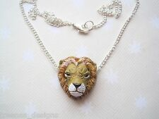 "*LION HEAD* CERAMIC CHARM Silver Plated NECKLACE 18"" Chain Safari Animal BIG CAT"