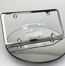 Slim 4 Holes Black Chrome License Plate Frame w/ Aluminum Circle Type Screw Cap