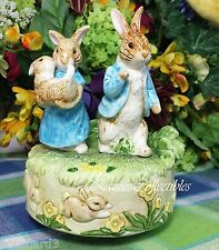 Beatrix Potter Music box Mr and Mrs Rabbit with baby