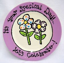 Its Your Special Day Plate Hand Painted Flowers Lavender Birthday Celebration