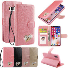 Bling Glitter Magnetic PU Leather Flip Wallet Card Pocket Case Stand Lot Cover