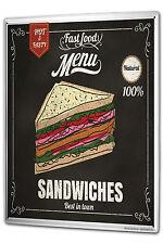Tin Sign XXL Food Restaurant Sandwich metal plate plaque