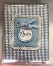 "Baby boy photo album blue gingham cover holds 100 4"" x 6"" photos New"