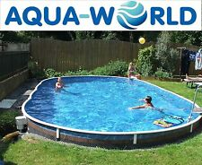Aqua World Above Ground 9.1m x 4.6m Oval Swimming Pool & Enclosure Package