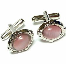Cufflinks lot tuxedo pink cat eye silver tone ov1
