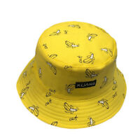 UNISEX SUN PROTECTION BANANA CHIPS CARROTS PRINTED WIDE BRIM BUCKET HAT  KINDLY