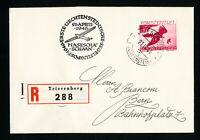 Liechtenstein Stamps # C22 on Registered 1946 First Flight Cover