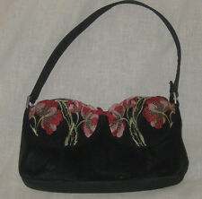Indeed Bra Purse Handbag Black with Pink Floral Cups